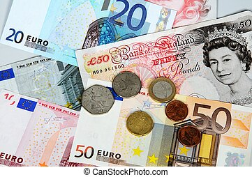 English and Euro money. - Selection of English and Euro...
