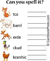 English animal spell worksheet illustration