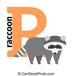 English animals zoo alphabet letter R