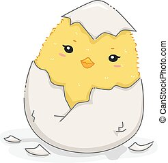 English Antonym Chick Hatch Quiet - Illustration of a Cute...
