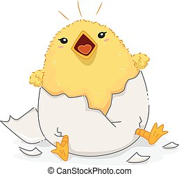 English Antonym Chick Noisy Chirping - Illustration of a...
