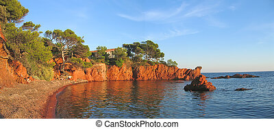English beach in Antheor, Azur coast, South of France, Panorama