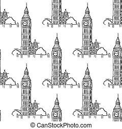 English Big Ben seamless pattern