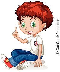 English boy with red hair illustration