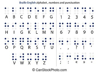 English Braille alphabet letters with numbers and punctuation. Vector