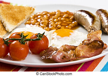 English Breakfast - english breakfast served on white plate
