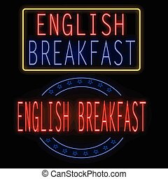 English breakfast glowing neon sign