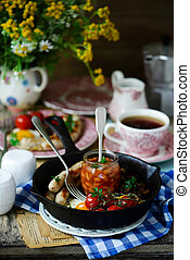 English breakfast on the table. style rustic