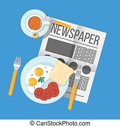 English Breakfast scrambled eggs with bacon and tea top view. Newspaper on table with food illustration. Morning breakfast food and drink. Plates with Breakfast on the table. Family Breakfast in London.