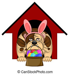 English Bull Dog with Easter Bunny Headband