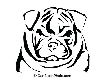 english bulldog. abstract silhouette isolated on white