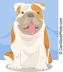 english bulldog dog cartoon - Cartoon Illustration of Funny ...
