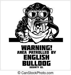 English Bulldog dog with gun and cigar - English Bulldog security. Head of security English Bulldog