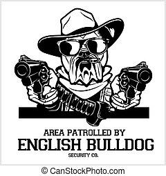 English Bulldog dog with hat, two pistols and cigar - English Bulldog security. Head of security English Bulldog