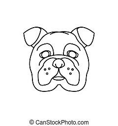 english bulldog head isolated icon