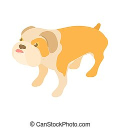 English bulldog icon, cartoon style
