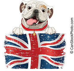 English Bulldog over British flag
