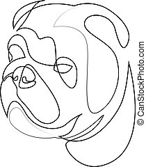 English Bulldog vector Dog portrait. Continuous line. Dog line drawing