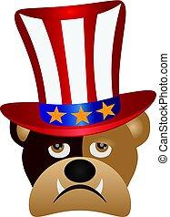 English Bulldog with 4th of July Hat Illustration