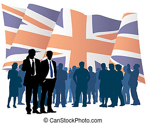English businesspeople with national flag, vector illustration.