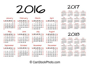 English Calendar 2016-2017-2018 vector illustration red and...