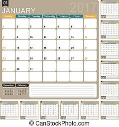 English Calendar 2017 - English planning calendar 2017, ...