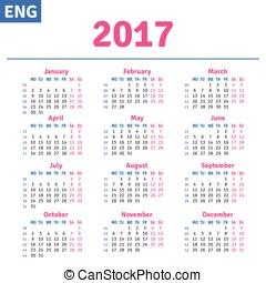 English calendar 2017