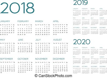 English Calendar 2018-2019-2020 vector text is outline font ...