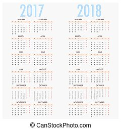 English calendar for years 2017 and 2018, week starts on...