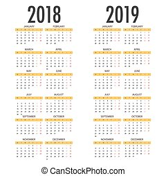 English calendar for years 2018 and 2019, week starts on...