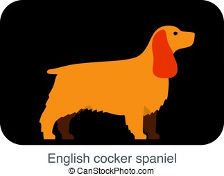 English Cocker Spaniel dog breed flat icon design