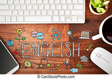 English concept with workstation on a wooden desk