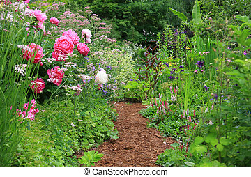 English cottage garden - Pretty path in an english cottage ...