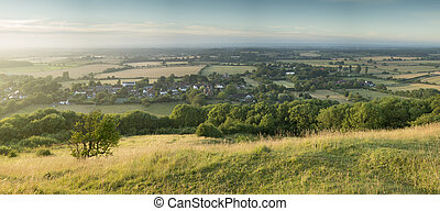 English countryside landscape during late Summer afternoon ...