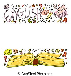 English courses. Doodle vector concept illustration of ...