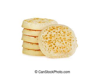 english crumpets on white