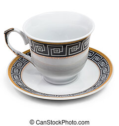 english cup saucer decorated with antique isolated