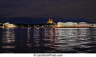 English Embankment at night - a view from the waterfront. St...