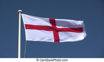 English flag of St. George blowing in the wind.