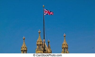 English Flag on Westminster, close