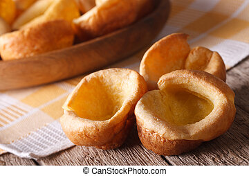 English food: homemade Yorkshire pudding close up....