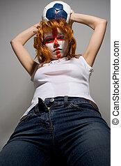 attack - english football makeup girl holding worn soccer...