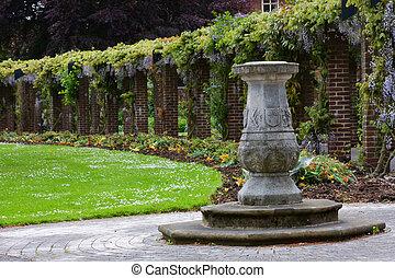 English garden sundial - Sundial in English garden