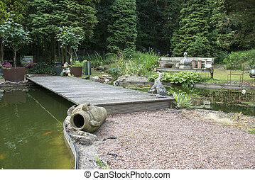 english garden with pond