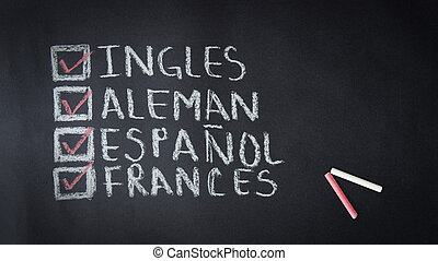 English, German, Spanish, French Chalk Drawing