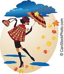 English girl in checkered coat