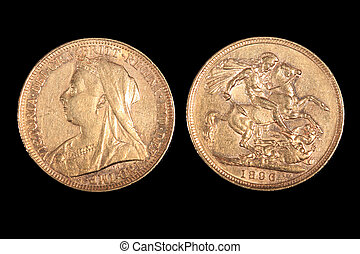 English gold coin from 1896