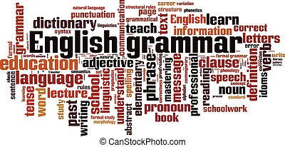 English grammar word cloud concept. Vector illustration