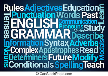 English Grammar Word Cloud on Blue Background