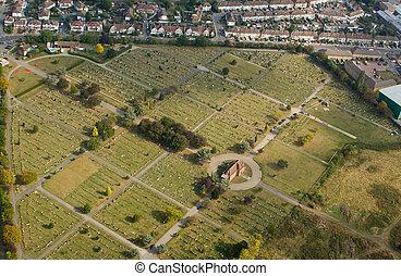 English graveyard - Birdseye view of a graveyard near London...